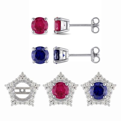 Sterling Silver Created Ruby and Sapphire Round Stud Earring with Cubic Zirconia Star Jacket Set