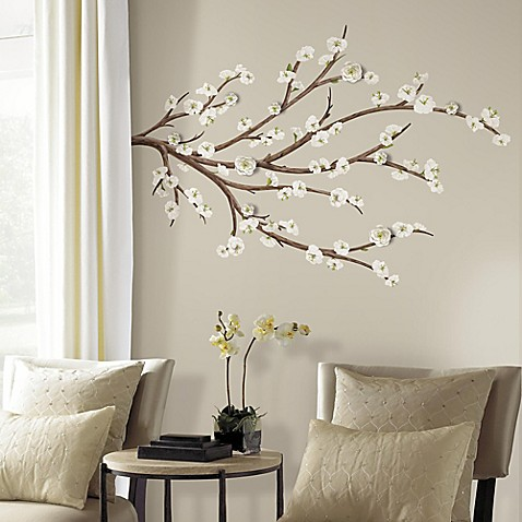 White blossom branch peel and stick giant wall decals with for Room decor embellishment art 3d