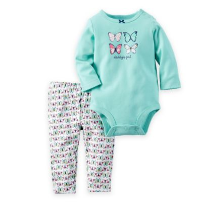 "carter's® Newborn ""Daddy's Girl"" Butterfly Bodysuit and Pant Set in Turquoise/Multicolor"