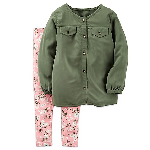 Buy carter's® Size Newborn 2-Piece Olive Top and Floral ...