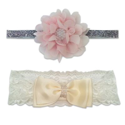 So'Dorable 2-Piece Flower & Bow Headwraps in Pink/Ivory