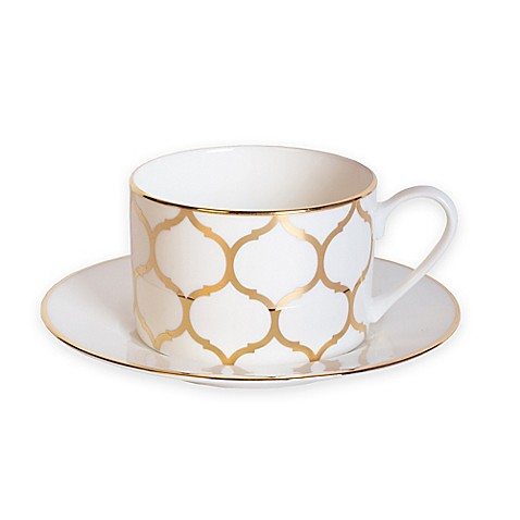 Nevaeh White® by Fitz and Floyd® Lattice Cup and Saucer in Gold