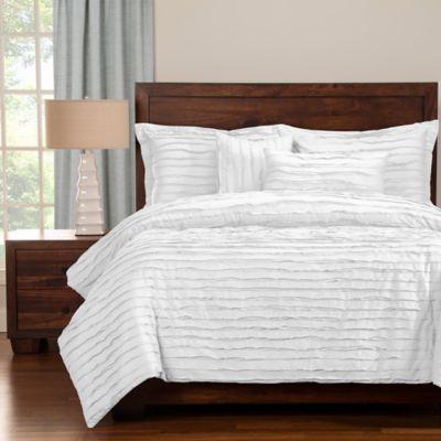 Tattered Full Duvet Cover Set with Comforter Insert in White