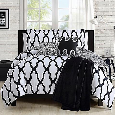 alain comforter set in black white. Black Bedroom Furniture Sets. Home Design Ideas