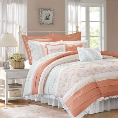 Madison Park Dawn Queen Duvet Cover Set in Coral