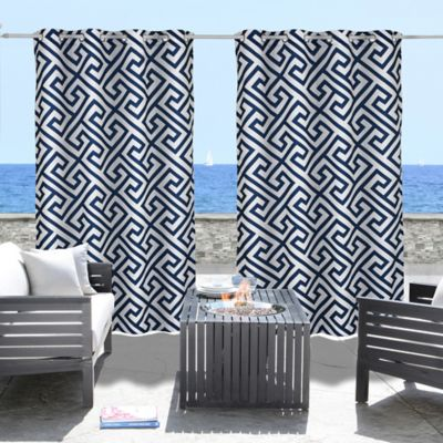 Commonwealth Home Fashions Greek Key 84-Inch Grommet Top Indoor/Outdoor Curtain Panel in Navy