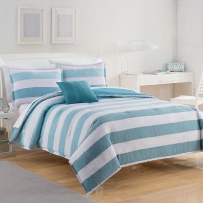 IZOD® Brandon Stripe Reversible Full/Queen Comforter Set in Grey