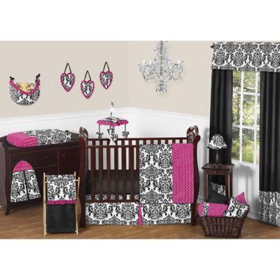 Sweet Jojo Designs Isabella 11-Piece Crib Bedding Set in Hot Pink/Black/White