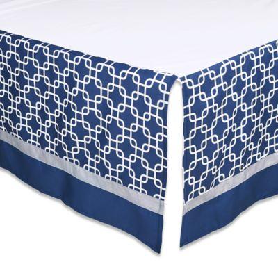 The Peanut Shell® Geometric Crib Skirt in Navy/Grey