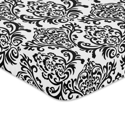 Black and White Fitted Crib Sheet