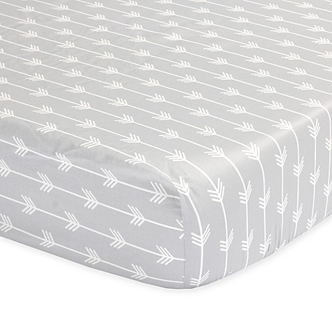 The Peanut Shell 174 Arrows Fitted Crib Sheet In Grey Www