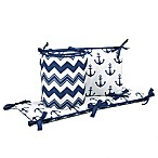 The Peanut Shell® Chevron Anchor 4-Piece Crib Bumper Set in White/Navy