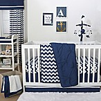 The Peanut Shell® Pintucked 4-Piece Crib Bedding Set in Navy