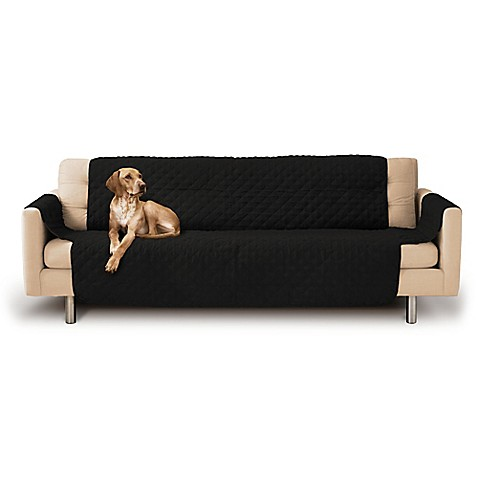 Buy micro suede quilted sofa couch slipcover in black from for Black suede sofa