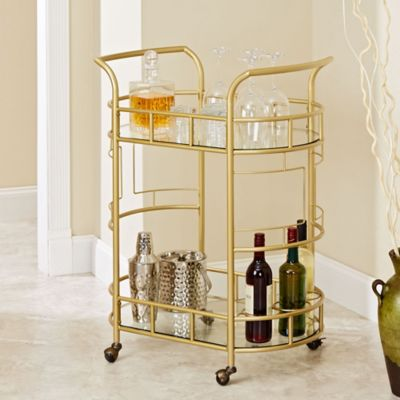 Silverwood Sinclair Serving Cart in Gold