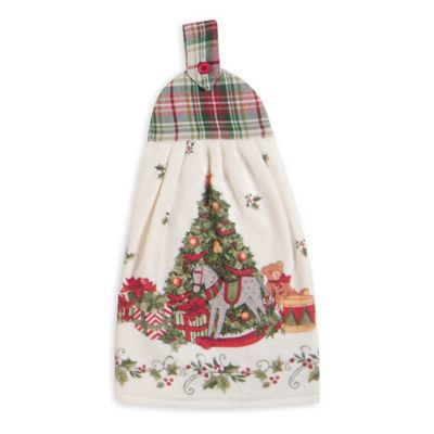 Snowy Night Tie Kitchen Towel in Red/Green