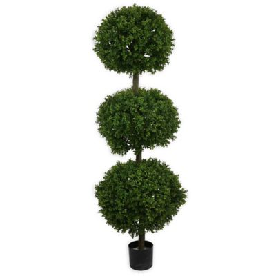 5-Foot 6-Inch Fabric Boxwood Triple Ball Topiary Tree with Black Pot