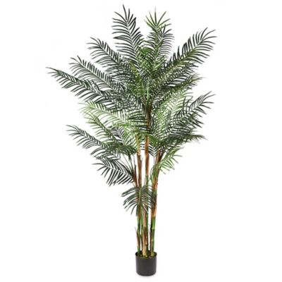8-Foot Fabric Reed Palm Tree with Black Pot