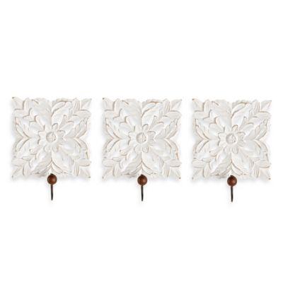 Art Wood Carved Hooks (Set of 3)