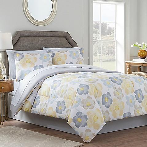 Antonia Reversible Comforter Set In Yellow Grey Bed Bath