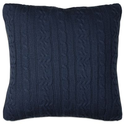 Izod® Cable Knit Square Throw Pillow in Denim