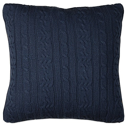 buy izod cable knit square throw pillow in denim from bed bath beyond. Black Bedroom Furniture Sets. Home Design Ideas