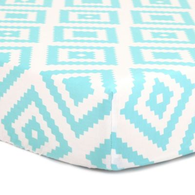 The Peanut Shell® Tile Fitted Crib Sheet in Teal
