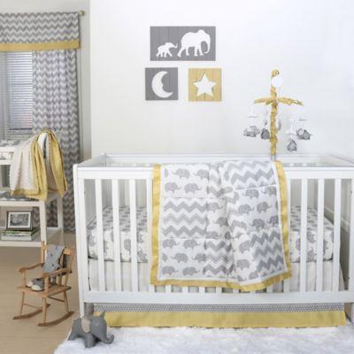 The Peanut Shell® Elephant 4-Piece Crib Set in Yellow/Grey