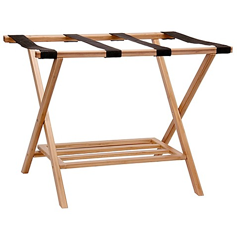 Household Essentials 174 Bamboo Luggage Rack With Tray Www