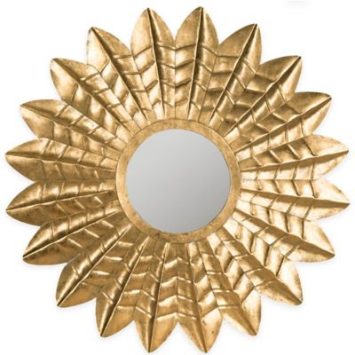 Safavieh Deco 1-Inch x 36-Inch Round Leaf Mirror in Antique Gold