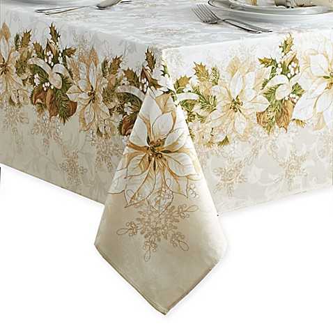 White Poinsettia Tablecloth Bed Bath Amp Beyond
