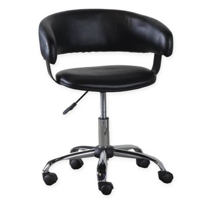 Acquisition Faux Leather Gas Lift Desk Chair in Black