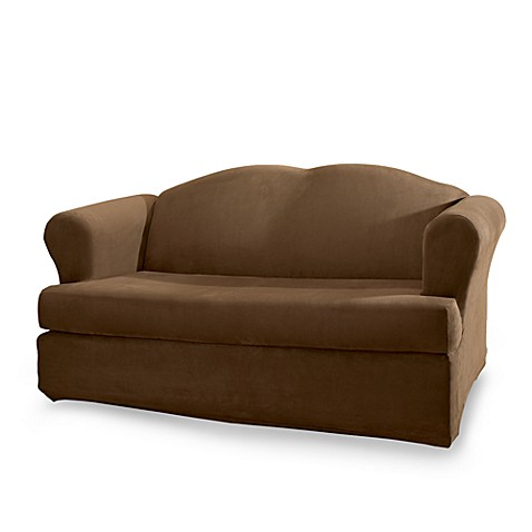 Sure Fit® Stretch Suede 2-Piece T-Cushion Loveseat Cover in Chocolate