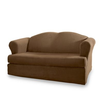 Sure Fit® Stretch Suede 2-Piece T-Cushion Sofa Cover in Chocolate