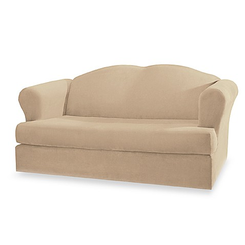 Stretch Suede Taupe 2-Piece Loveseat Slipcover by Sure Fit®