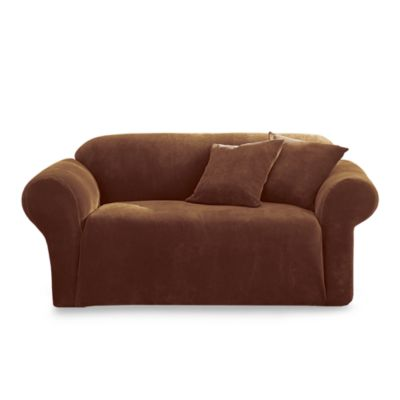 Stretch Pique Chocolate 3-Piece Loveseat Furniture Cover