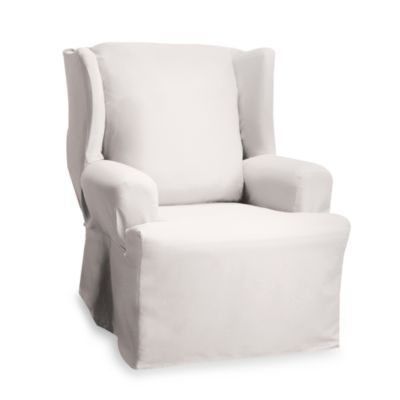 Cotton Duck Natural Wing Chair Furniture Cover by Sure Fit®