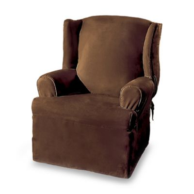 Sure Fit® Soft Suede Wing Chair Cover in Burgundy