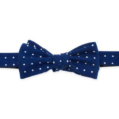 Wool White Polka Dot Bow Tie in Navy