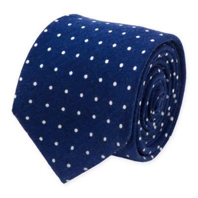White Polka Dot Wool Tie in Navy