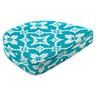 Outdoor Contoured Boxed Seat Cushion in Aspidora Turquoise