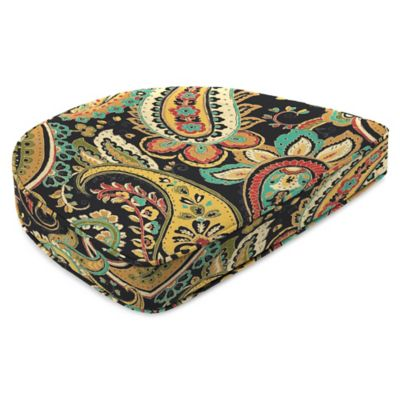 Outdoor Contoured Boxed Seat Cushion in Hadia Noir