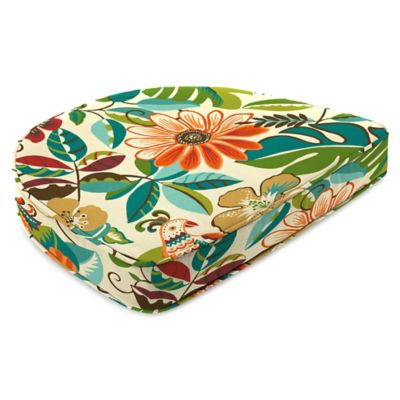 Outdoor Contoured Boxed Seat Cushion in Lensing Jungle