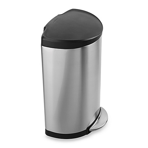 simplehuman® smartbucket™ Brushed Stainless Steel Semi-Round 40-Liter Step-On Trash Can