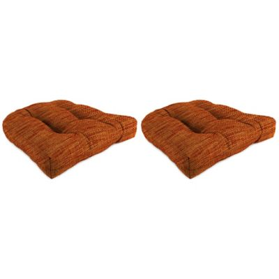 Outdoor Wicker Chair Cushions in Remi Cayenne (Set of 2)