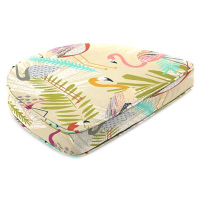 Outdoor Contoured Boxed Seat Cushion in Flamingos Spring