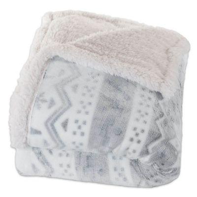 Nottingham Home Snowflake Fleece Throw Blanket in Slate
