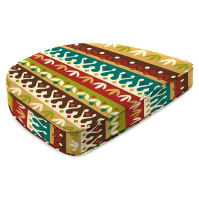 Outdoor Contoured Boxed Seat Cushion in Cotrell Jungle