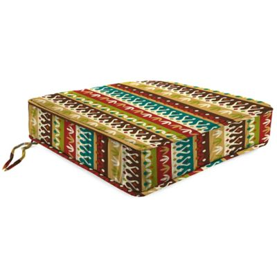 Outdoor Boxed Edge Seat Cushion in Cotrell Jungle