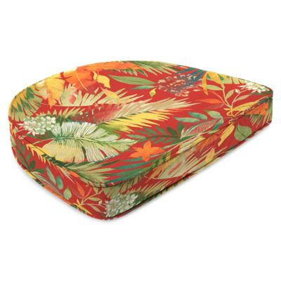 Outdoor Contoured Boxed Seat Cushion in Tomesa Fireball
